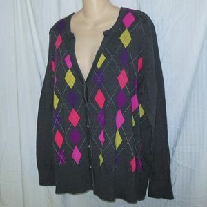 Lane Bryant Argyle Cardigan Sweater Size 26/28W